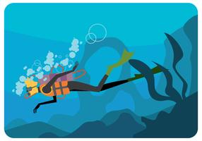 vettore di scuba diver