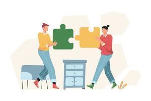 le persone organizzano puzzle per risolvere il problema aziendale vettore