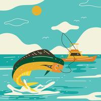 Vettore dell'illustrazione di pesca del mare profondo