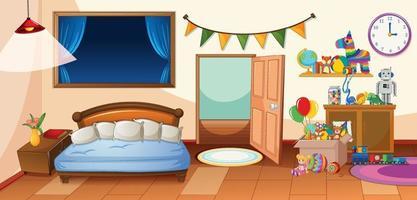 grazioso interno della camera da letto dei bambini vettore