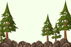 sfondo vuoto con molti alberi di pino vettore