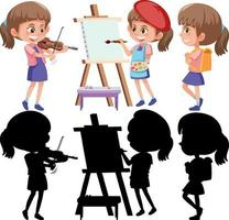 set di un personaggio dei cartoni animati di ragazza che fa diverse attività con la sua silhouette vettore