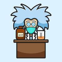Simpatico personaggio scienziato che indossa la maschera esperimento chimico pericoloso icona vettore del fumetto illustrazione