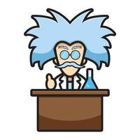 Simpatico personaggio scienziato esperimento chimico del fumetto icona vettore illustrazione