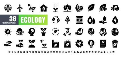 vettore di 36 set di icone di glifo solido ecologia e energia verde. 48x48 e 192x192 pixel perfetti.