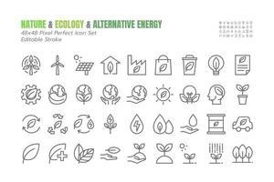 semplice set di icone di contorno sottile di vettore di eco. come l'ambiente, l'ecologia, l'energia rinnovabile, l'alimentazione alternativa, il biocarburante, il riciclo, la mentalità verde, la goccia d'acqua 48x48 pixel perfetta. tratto modificabile