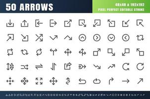 50 frecce in grassetto set di icone di contorno. Tratto modificabile perfetto di 48x48 pixel. Vettore di linea di larghezza del tratto di 4 px.