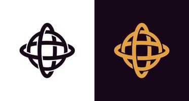 icona del logo globo astratto e classico, logo di rotazione circolare, logo di rotazione terrestre semplice ed elegante vettore