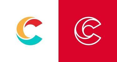 logo lettera c a strati moderno e minimale, modello vettoriale logo monogramma c iniziale semplice