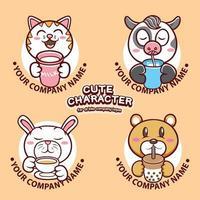 set di illustrazioni per il viso di un simpatico personaggio animale vettore