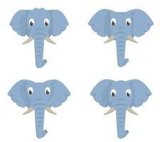 set di elefanti dei cartoni animati. vettore
