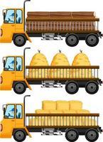 set di carro attrezzi che trasportano fieno sfondo isolato vettore