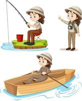 personaggio dei cartoni animati di una ragazza in abiti da campeggio facendo diverse attività impostate vettore
