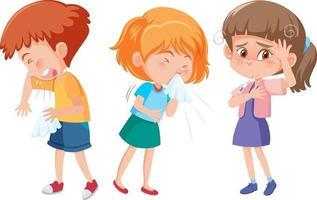 set di diversi personaggi dei cartoni animati per bambini hanno sintomi influenzali vettore