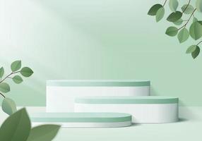 I prodotti di sfondo 3D mostrano la scena del podio con una piattaforma geometrica. sfondo rendering 3d vettoriale con podio.