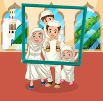 famiglia felice personaggio dei cartoni animati musulmani vettore