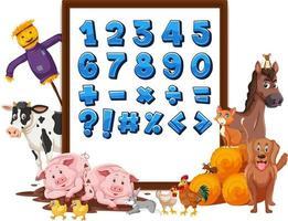 numero 0-9 e simboli matematici a bordo con animali da fattoria vettore