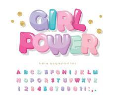 carattere lucido dei cartoni animati. simpatico alfabeto per ragazze, baby shower. banner di potere della ragazza. vettore