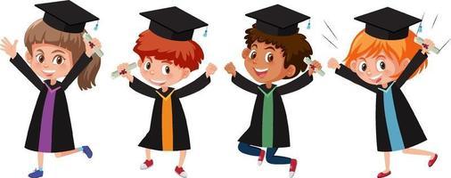 set di diversi bambini che indossano abito da laurea vettore