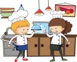 piccolo chef con attrezzature da cucina su sfondo bianco vettore