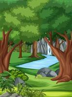 scena della giungla con molti alberi e cascate vettore