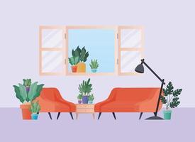 divano arancione e poltrona con piante nel disegno vettoriale soggiorno