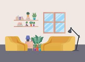 divano giallo e poltrona con piante nel disegno vettoriale soggiorno