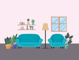 divani blu con piante nel disegno vettoriale soggiorno