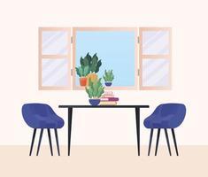 tavolo con sedie davanti alla finestra disegno vettoriale