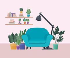 poltrona blu con piante nel disegno vettoriale soggiorno