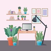 scrivania con lampada del computer e piante in camera disegno vettoriale