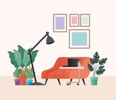 poltrona arancione con piante laptop e lampada nel disegno vettoriale soggiorno
