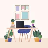 scrivania con laptop sedia blu e piante in camera disegno vettoriale