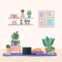 portatile con cusihions e piante nel disegno vettoriale di soggiorno