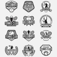 Insieme di modelli di disegno vettoriale distintivi del logo del club di tennis