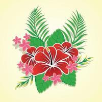 asset di ornamento floreale hawaiano vettore