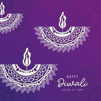 felice diwali bianco mandala candele su sfondo viola disegno vettoriale