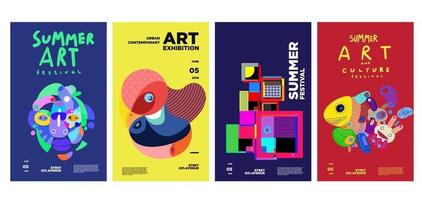design di poster colorato mostra d'arte e cultura estiva vettore