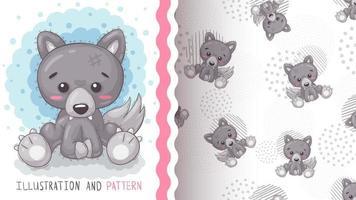 adorabile personaggio dei cartoni animati animale lupo vettore