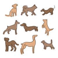 Set di cani astratti allineati vettore