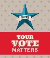 il tuo voto conta banner e disegno vettoriale stella