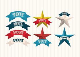 votare il nastro e le stelle impostare disegno vettoriale