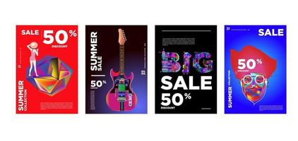 modello di banner di promozione sconto vendita di musica e moda estiva vettore