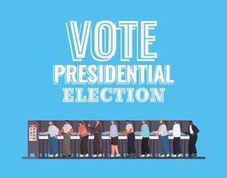 uomini sulla cabina elettorale con disegno vettoriale di voto elezioni presidenziali testo