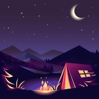 Campeggio notturno vettore