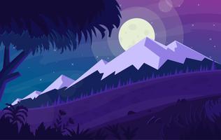 Illustrazione di paesaggio notturno viola vettoriale