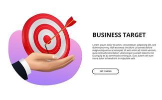 mano che tiene la scheda obiettivo rosso 3d con illustrazione freccia tiro con l'arco. successo aziendale, targeting e raggiungimento di un obiettivo vettore