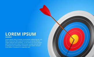 Obiettivo di tiro con l'arco 3d e gioco di sport della freccia illustrazione di concetto di targeting di successo aziendale vettore