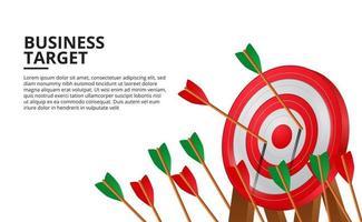 freccia di tiro con l'arco sulla scheda obiettivo rosso 3d. concetto di illustrazione di raggiungimento degli obiettivi aziendali vettore