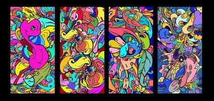 vettore colorato astratto fumetto doodle sfondo banner